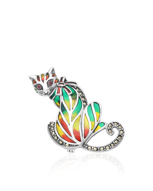 Ruby, Marcasite, Enamels & Sterling Silver Cat Pin - Red, Yellow & Green Enamels