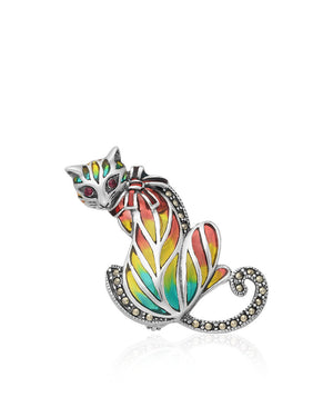 Ruby, Marcasite, Enamels & Sterling Silver Cat Pin with Yellow Blue & Red Enamels