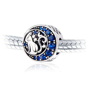 Moon & Stars Cat Charm with Cubic Zirconia & Sterling Silver