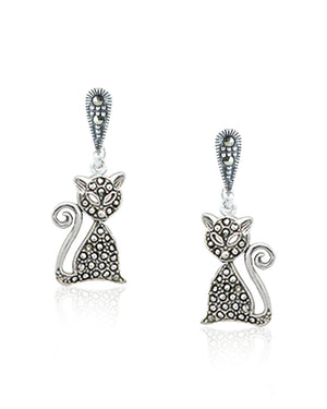 Mystical Cat Dangle Earrings with Swiss Marcasite in Sterling Silver