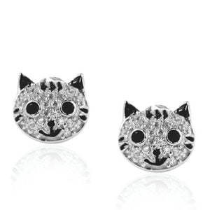 Happy Cat Face Stud Earrings with Cubic Zirconia & Sterling Silver