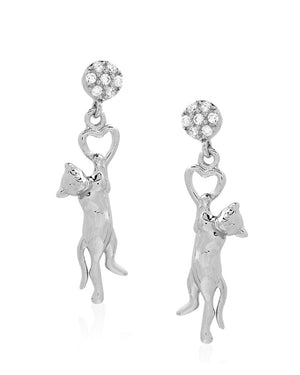 Heart Cat Earrings with Cubic Zirconias in Sterling Silver