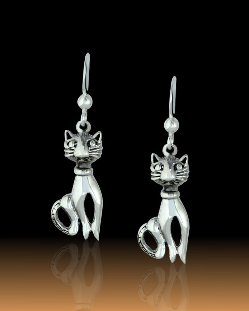 Siam Cat Sterling Silver Drop Earrings