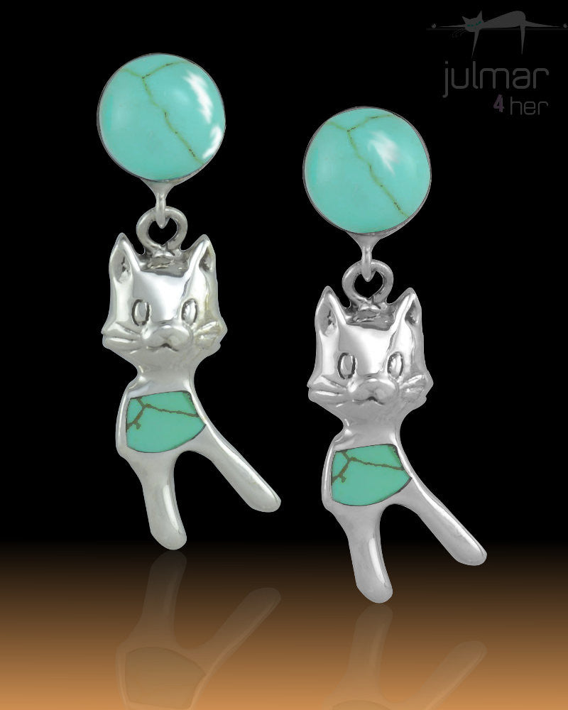 Pretty Green Turquoise Cat Sterling Silver cat shaped Earrings