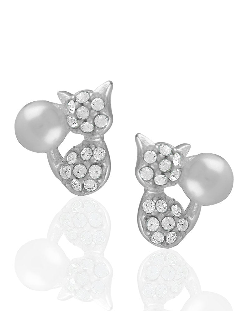 Glimmer Cat Stud Earrings with Crystals & Faux Pearls in Sterling Silver