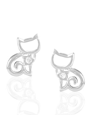 Sparkle Cat White Cubic Zirconia Sterling Silver Stud Earrings