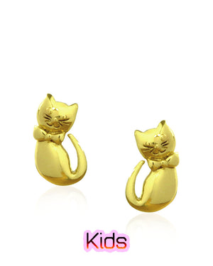 Lively Kitten Stud Earrings in Gold over Sterling Silver