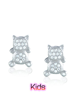 Showy Cat Stud Earrings with Cubic Zirconias in Sterling Silver