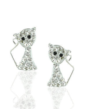Luminous Cat Stud Earrings with Crystals in Sterling Silver