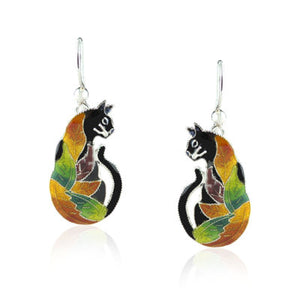 Colours of Life Cat Drop Earrings with Enamels over Silver
