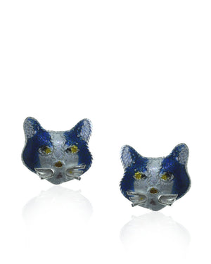 Blue & White Enamels & Sterling Silver Cat Stud Earrings