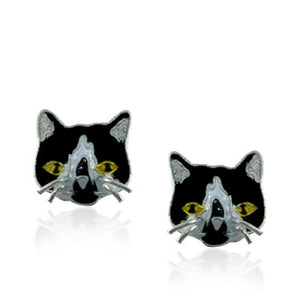 Tuxedo Cat Face Stud Earrings with Enamels over Sterling Silver