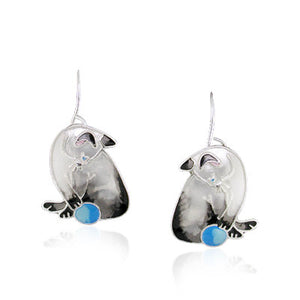 Adorable Cat with Ball Dangle Earrings with Enamels over Silver