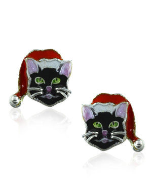 Festive Cat Stud Earrings with Enamels over Silver