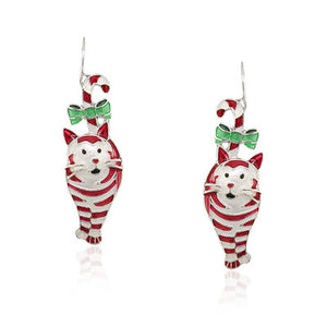 Candy Cane Cat Earrings with Enamels over Silver