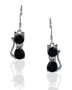 Elegant Cat Drop Earrings with Crystals in  Sterling Silver