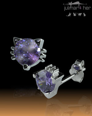 Mauve Crystal cat shaped Sterling Silver Earrings