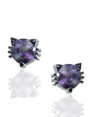 Mauve Cat Stud Earrings with Crystal in Sterling Silver