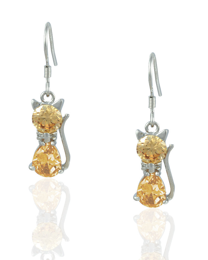Bubbly Cat Drop Earrings with Crystals in Sterling Silver