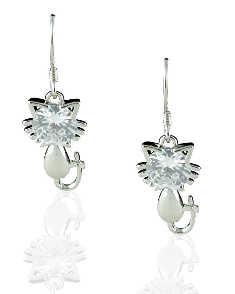 Vibrant Cat Drop Earrings with Cubic Zirconias in Sterling Silver
