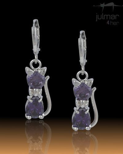 Meme Cat Mauve CZ Sterling Silver Earrings