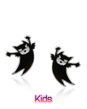 Spooks the Scary Cat Stud Earrings in Sterling Silver