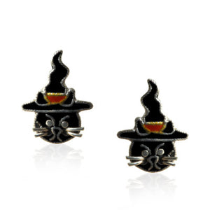 Magician Cat Stud Earrings with Enamels over Silver