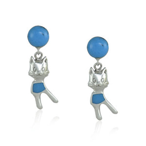 Pretty Cat Drop Earrings with Turquoise in Sterling Silver