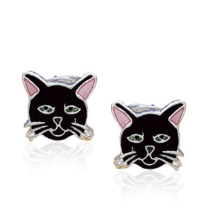 Pink Eared Cat Stud Earrings with Enamels over Silver