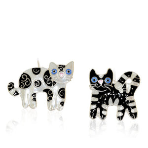Feline Friends Dangle Earrings with Enamels over Silver
