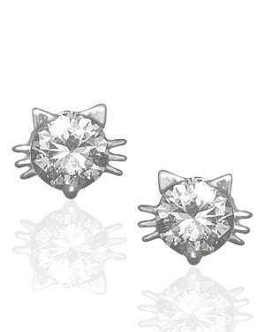 Whiskers Cat Stud Earrings with Cubic Zirconias in Sterling Silver