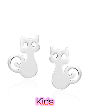 Curious Kitty Stud Earrings in Sterling Silver