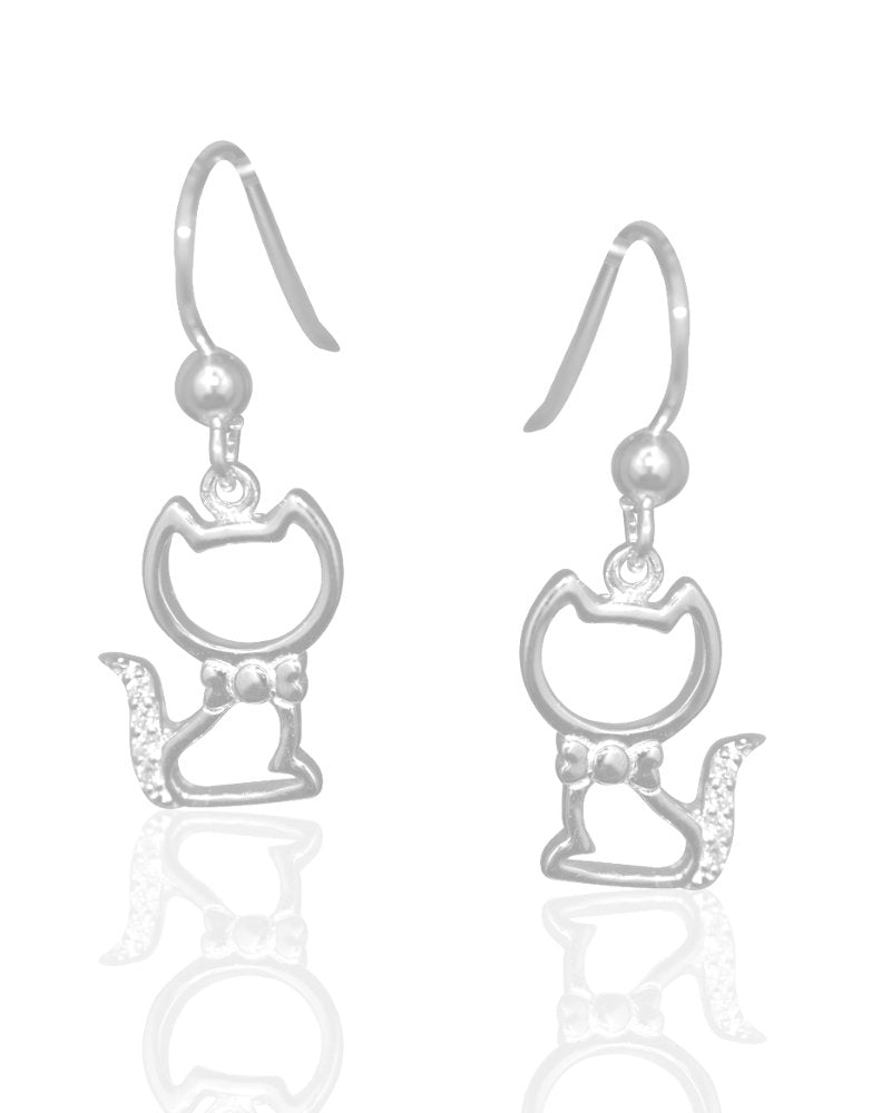 Flashy Feline Drop Earrings with Cubic Zirconias in Sterling Silver