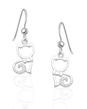 Glossy Cat Drop Earrings with Cubic Zirconias in Sterling Silver