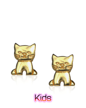 Cute Kitten Stud Earrings with Yellow Gold over Sterling Silver