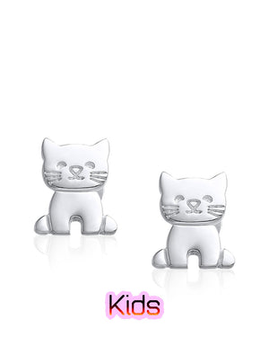 Cute Kitten Sterling Silver Stud Earrings