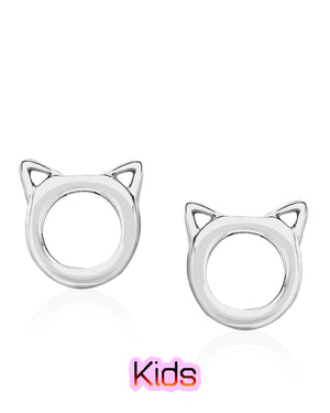 Cat Face Stud Earrings in Sterling Silver