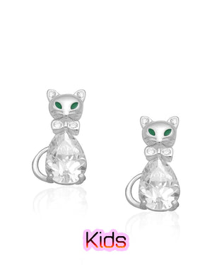 Emerald Green Eyes Cat Stud Earrings with Cubic Zirconias in Sterling Silver