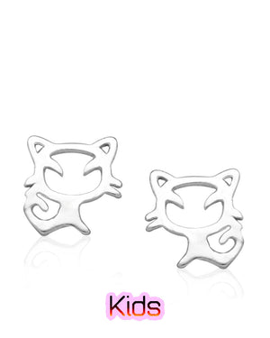 Fun Cat Stud Earrings in Sterling Silver