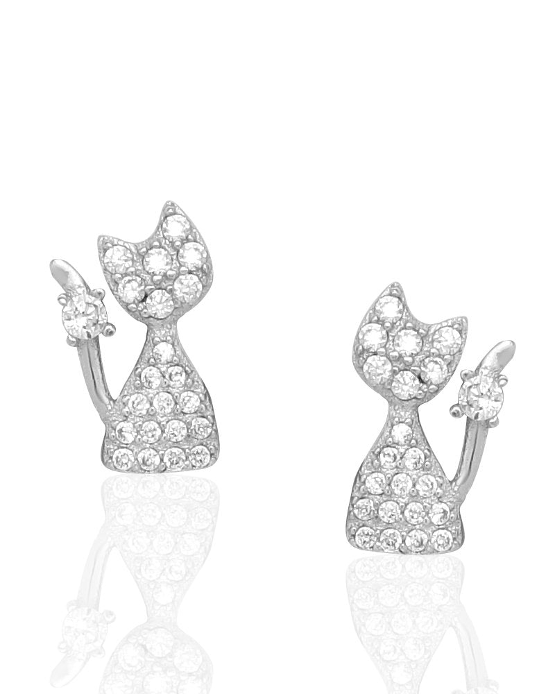 Shiny Cat Stud Earrings with Cubic Zirconias in Sterling Silver