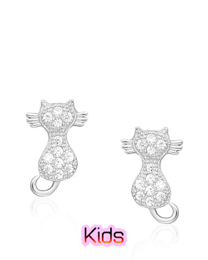 Posing Cat Stud Earrings with Cubic Zirconias in Sterling Silver