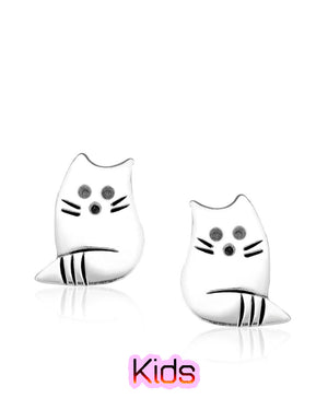 Pampered Cat Stud Earrings with Sterling Silver
