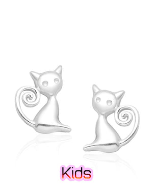Long Tail Cat Stud Earrings in Sterling Silver