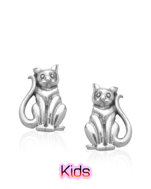 Patient Sitting Kitty Stud Earrings in Sterling Silver