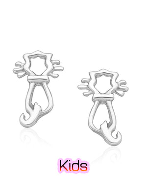 Whiskers Cat Stud Earrings in Sterling Silver