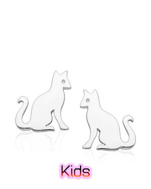 Long Curly Tail Cat Stud Earrings in Sterling Silver