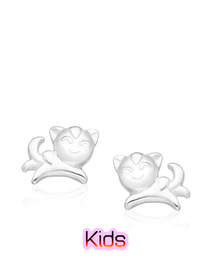 Playful Kitten Stud Earrings in Sterling Silver