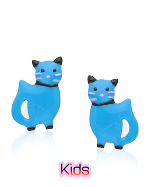Gleeful Kitten Stud Earrings with Blue Enamels over Sterling Silver