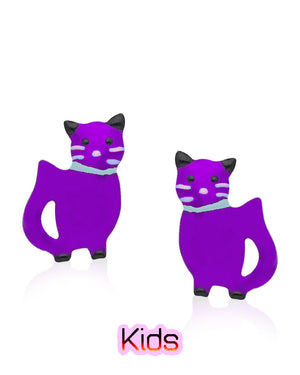 Gleeful Kitten Stud Earrings with Purple Enamels over Sterling Silver