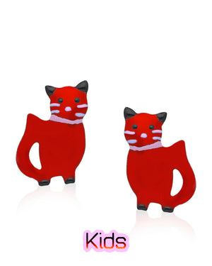 Gleeful Kitten Stud Earrings with Red Enamels over Sterling Silver